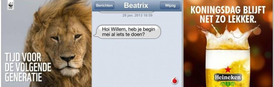 Voorbeelden van online marketing inhakers op troonsafstand Beatrix