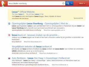 Duckduckgo - voorbeeld van een lokale zoekactie