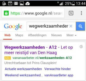 Google Adwords mobiele sitelinks