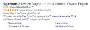 Google Adwords sitelinks Bijenkorf