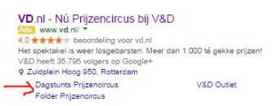 Google Adwords sitelinks V&D