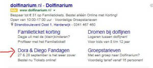Dolfinarium Google Adwords sitelinks
