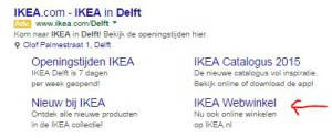 Google Adwords sitelinks - IKEA Delft