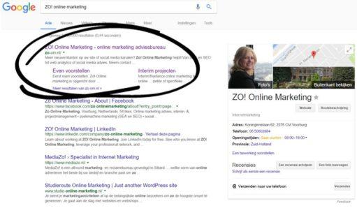 Google Adwords advertentie - voorbeeld