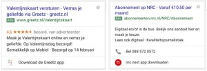 Mobiele tekstadvertenties Google Adwords