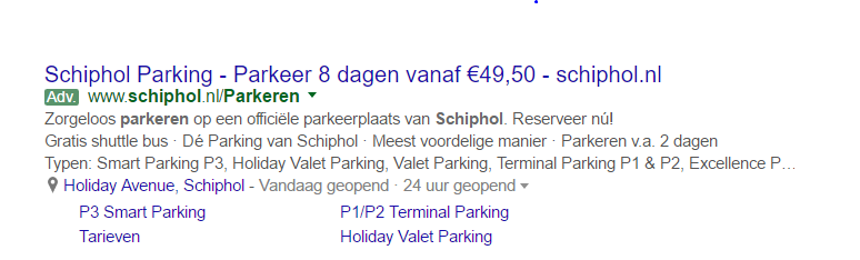 Adwords advertentie Schiphol Parking