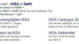 Google Adwords sitelinks - IKEA Delft