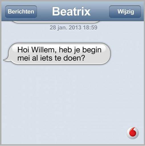 Voorbeeld online inhaker Vodafone op troonsafstand Beatrix