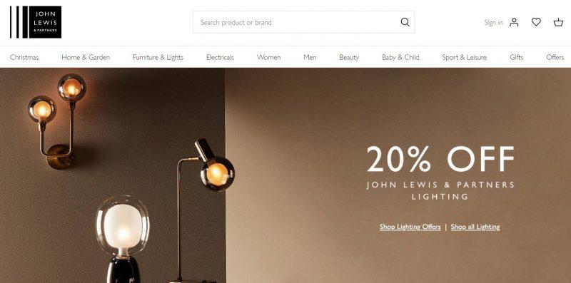 Afbeelding online warenhuis John Lewis UK