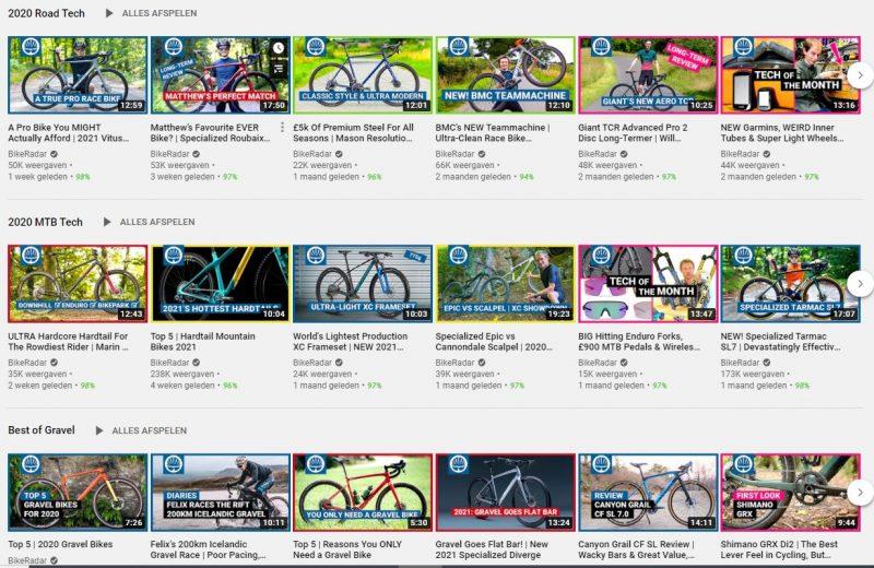 Voorbeeld van playlists BikeRadar