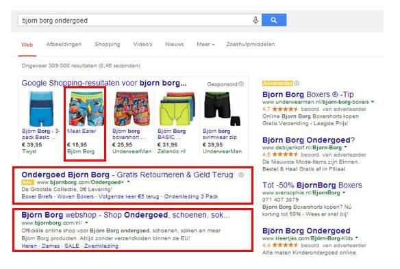 Voorbeeld Björn Borg - SEO SEA en Google Shopping op één pagina