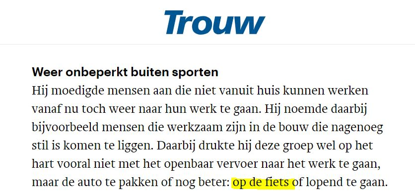 Screenshot artikel Trouw