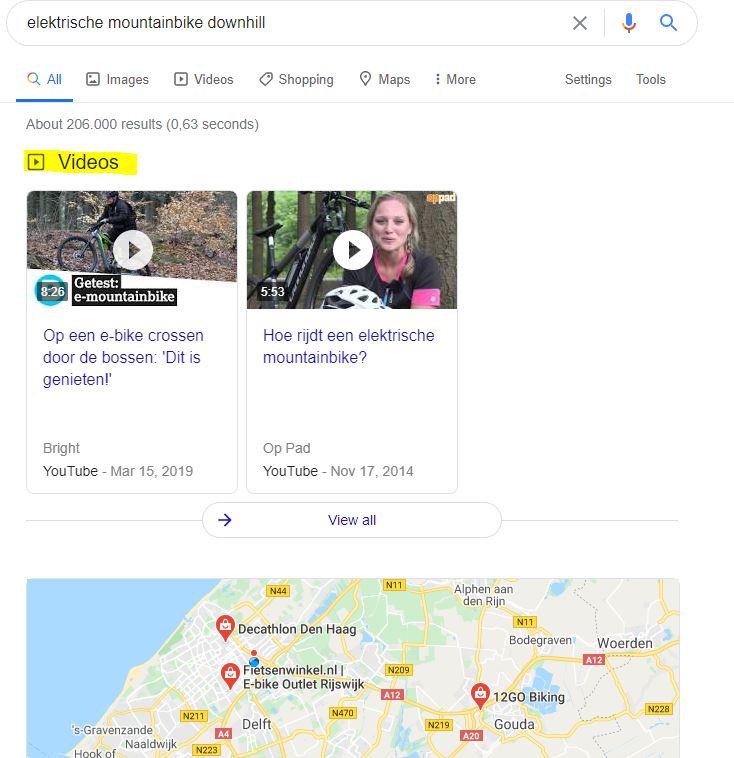 Voorbeeld van videos op zoekresultatenpagina Google